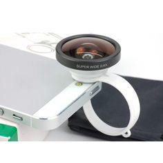 This super wide angle lens is designed with a circular clamp, which makes it suitable for most mobile phones. It possesses characteristics: 0.4X magnification, low distortion, etc. With it, you can easily take pictures of large range scenery.