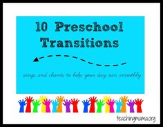 Teaching Mama: 10 Preschool Transitions--songs and chants to help your day run smoothly. Pinned by SOS Inc. Preschool Music, Preschool Classroom, Preschool Learning, Preschool Activities, Classroom Ideas, Daycare Curriculum, Homeschooling, Listening Activities, Vocabulary Activities
