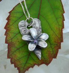 Precious Metal Clay FRANGIPANI on HEART - by dichroiccreations