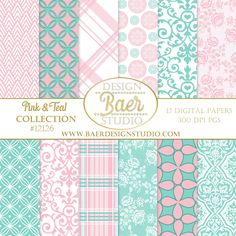 Pink and Turquoise Digital Paper. The benefit of purchasing digital backgrounds and digital clip art is the ability of using the purchase over and over again. Purchase once, download onto your computer or tablet and you are ready to go! Use the images for your wedding, personalized family cards, baby showers, holidays and anniversaries. Create your own brand!