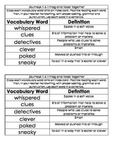Worksheets 1st Grade Vocabulary Words And Definitions journeys first grade unit 1 oral vocabulary wordsdefinitions reading series words these are taken from the journeys
