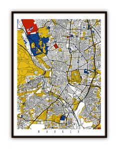 Madrid , Spain Map Art Print / Street Map Art    This Map of Madrid is part of my design collection inspired by Artist Piet Mondrians Composition