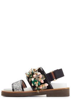 Embellished Sandals with Patent Leather and Glitter   Marni