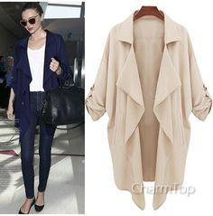 Casual Desigual Trench Coat For Women XL Full Sleeve Lapel Long Cardigans… eda42faa0b8