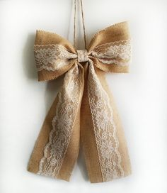 Rustic Wedding Decor, Burlap and Lace Bows, Pew Bows, Rustic Shower Decor, Rustic Home Decor