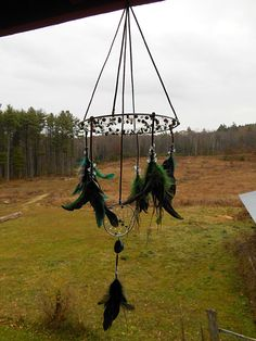The Green Man Crystal Cure Dream Catcher Mobile by TheEmeraldLotus, $85.00