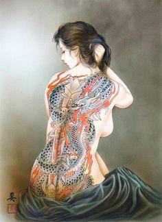Tattoo Fantasy art of Ozuma Kaname - Japanese painter Kunst Tattoos, Body Art Tattoos, Yakuza Girl, Geisha Art, Japan Painting, Japanese Tattoo Art, Beautiful Fantasy Art, Sexy, Irezumi