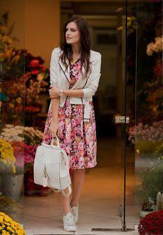 Viktoriya Sener - Bb Dakota Jacket, Light In The Box Dress, New Look Backpack, Mango Trainers - FLOWER SHOP
