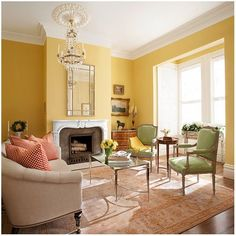 37 + Stylish Yellow Living Room Color Schemes Design Ideas - Home By X Yellow Living Room Accessories, Yellow Walls Living Room, Living Room Color Schemes, Living Room Colors, Living Room Interior, Living Room Designs, Living Room Furniture, Yellow Rooms, Yellow Painted Rooms