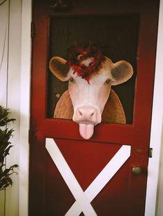 painted cow on garden shed door #garden #gardening