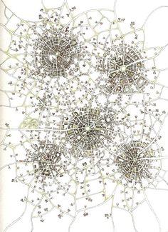 "Emily Garfield. Five Towns (Cityspace #85). Pen, watercolor. 9""x12"""