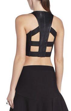 black leather bra back bcbg Fashion Details, Diy Fashion, Fashion Beauty, Womens Fashion, Leather Bra, Black Leather, Look Girl, Cool Style, My Style