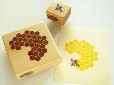 Hand Carved Rubber Stamp, Honeycomb and Honeybee set of 2. $16.00, via Etsy.