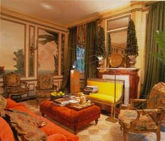 1992 Living – Jorge Elias Jorge Elias, Ottoman, Room Decor, Designers, House, Rooms, Painting, Interiors, Orange