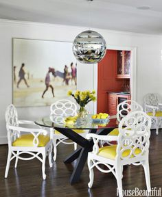 Simple yellow dining chairs make a big statement.