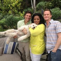 Oprah with Neil Patrick Harris's family dog - is it a goldendoodle?