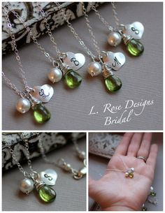 Personalized Bridesmaid Necklaces GIFT SET of Four by LRoseDesigns, $146.30