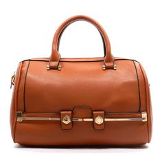 """$34.99 This barrel satchel features goldtone hardware & double carrying handles.  Lots of space on the inside for all of your traveling necessities.  Also available in Black. - Made of high quality faux leather - Lined interior - Top Zipper Closure - Detacheable Shoulder Strap - 13""""W x 8""""H x 5""""D"""