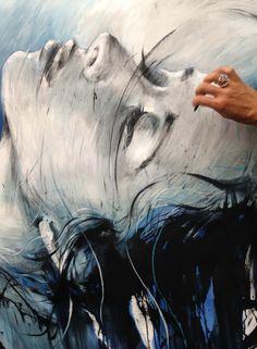 ewa hauton #face #oiloncanvas #blue