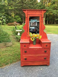 Antique Painted Dresser Red Paint - Fireworks Red #americanpaintcompany Chalk and Clay paint