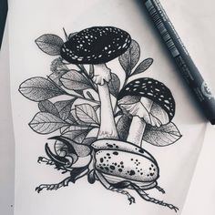 this beetle is looking for a home . Kunst Tattoos, Body Art Tattoos, Sleeve Tattoos, Tattoo Sketches, Tattoo Drawings, Art Sketches, Mushroom Drawing, Mushroom Art, Beetle Tattoo