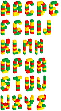 Typographie Lego by Paul-Henri Masson Make a copy and put it with your Legos so students can use it as a visual prompt as they try and make the letters.