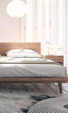 Full wood frame, taper mid-century legs and a simple headboard Ikea Headboard, Pillow Headboard, Headboards For Beds, Tall Headboard, Headboard Ideas, Bedroom Furniture, Home Furniture, Bedroom Decor, Classic Furniture
