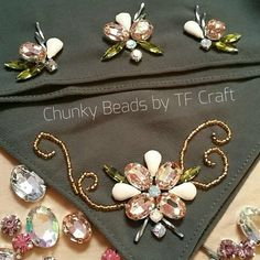 Chunky Beads by TF Craft «♡» Pearl Embroidery, Couture Embroidery, Embroidery Jewelry, Ribbon Embroidery, Bead Embroidery Tutorial, Floral Embroidery Patterns, Embroidery Designs, Motifs Perler, Bead Sewing