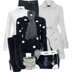 Winter outfit - pokadot sweater, white shirt jeans, black boots white jacket