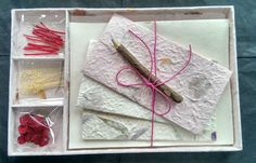 Gift Set - DIY Letter/Writing Stationery Set/Handmade Mulberry Paper/X mas/Pink2