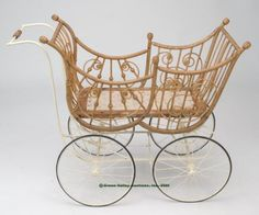 VICTORIAN BABY CARRIAGE,  turned wood and wicker