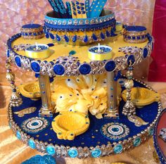 A stunning double tiered mehndi plate. See my Facebook page Www.facebook.com/mehnditraysforfun