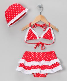 Take a look at this Red & White Polka Dot Skirted Bikini & Bonnet - Toddler & Girls on zulily today!