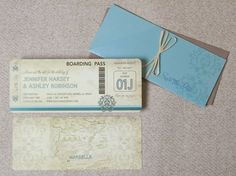 vintage boarding pass save-the-date.
