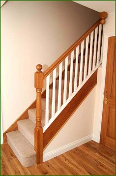 Staircase Spindles, Timber Handrail, Interior Stair Railing, Painted Staircases, Oak Stairs, Staircase Railings, Painted Stairs, Staircase Design, Staircase Ideas
