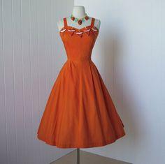 vintage 1950's dress  tangerine dream cotton full skirt by traven7
