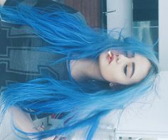 Daugher of the Sadness - Haar Ideen Hair Dye Colors, Cool Hair Color, Blue Hair Tumblr, Pelo Color Gris, Coloured Hair, Aesthetic Hair, Dye My Hair, Pastel Hair, Grunge Hair