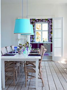 """Love the flow of rooms and how the amazing purple floral wallpaper connects to the dining(from """"Decorate"""" by Holly Becker & Joanne designs design"""