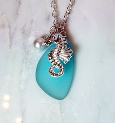 Aquamarine Blue Sea Glass Friendship necklace