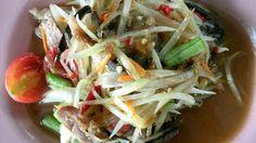 Fresh papaya salad with black crab-- found at food stalls in Bangkok.