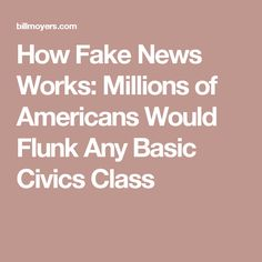 How Fake News Works: Millions of Americans Would Flunk Any Basic Civics Class Liberal Politics, Digital Literacy, Fake News, New Words, It Works, Learning, American, Sad, Studying