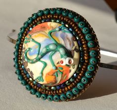Green and Blue Glass Bead Embroidered Headband  by ChocolateAngel, $30.00