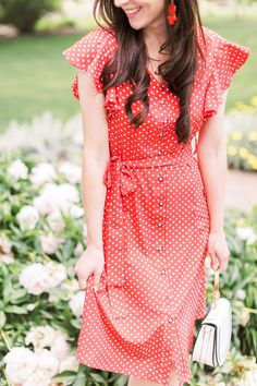 of July Outfit Idea: Red Polka Dot Midi Dress Outfit This red polka dot midi dress is the perfect casual of July outfit for women! It'd also make an adorable preppy summer work outfit, classy date ni. 4th Of July Outfits, Summer Work Outfits, Preppy Outfits, Night Outfits, Preppy Style, Summer Clothes, Summer Outfit, Midi Dress Outfit, Dress Outfits