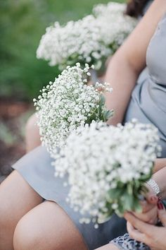 I love just keeping simple bridesmaids bouquets of babes breath. Park City Utah Wedding by Ravenberg Photography