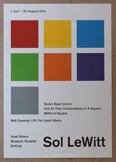 Artist/ Author: Sol LeWitt Title : Seven basic colors and their combinations in a square within a square. Walldrawing for Josef Albers Publisher: Josef Albers Museum, 2015 Measurements: 83 x 60 cm Con