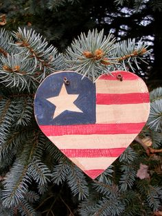 Rustic Country Patriotic Holiday Hand Painted Wood American Flag Heart Ornament…