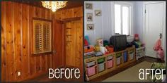 Paint over knotty pine to brighten room (white or light blue) Knotty Pine Paneling, Knotty Pine Doors, Knotty Pine Walls, Knotty Pine Kitchen, Ikea Baby Nursery, Painting Wood Paneling, Painted Panelling, Brighten Room, Wood Panel Walls