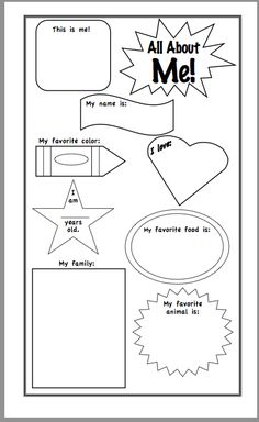 This is an image of Decisive Free Printable All About Me Poster