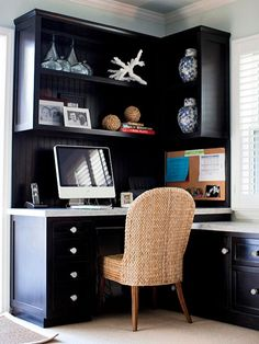 The Corner Office - Truth is, corners exist in every room, right?   Take a look around and ask yourself, is there one corner where you could add some upper cabinets and a desk below?  If so, that's the place to insert a home office!
