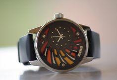 ALB100 watch picture front Horology workshop Art A.L.B mechanical luxury enamel black red orange white dial handmade wrist watch ETA 2671 movement caliber swiss